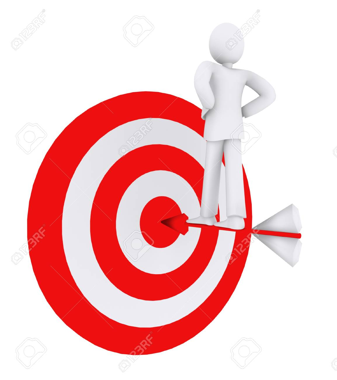 man who stands on the   arrow, hit the goal Stock Photo - 11970401