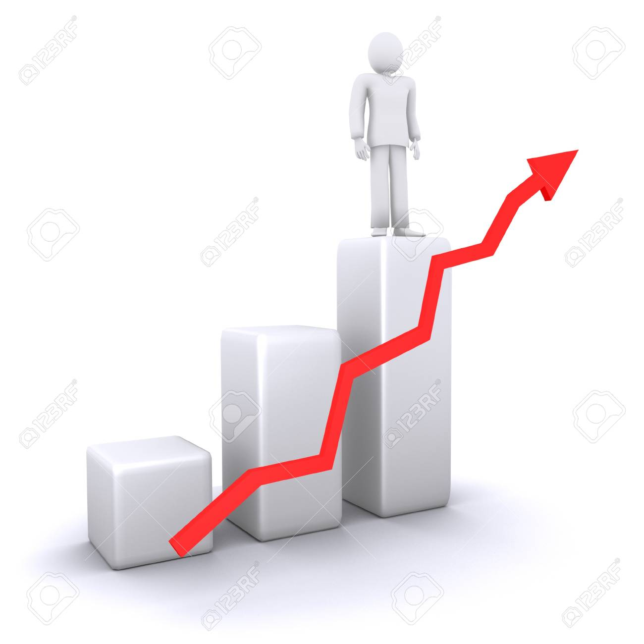 man who stands on top of   success graph, against the background of the graph chart with arrow Stock Photo - 11970422