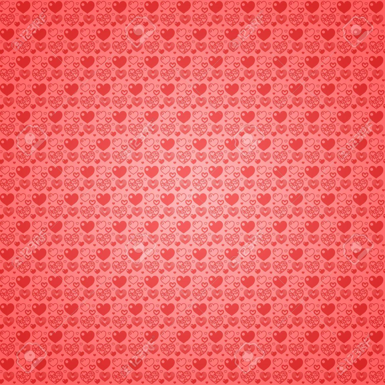 Seamless Pattern Wallpaper Light Red Hearts Stock Photo