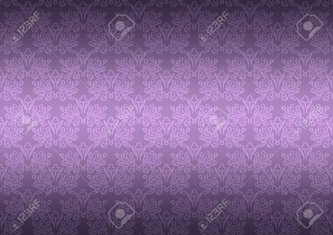 Seamless Pattern Wallpaper Floral Dark Purple Stock Photo