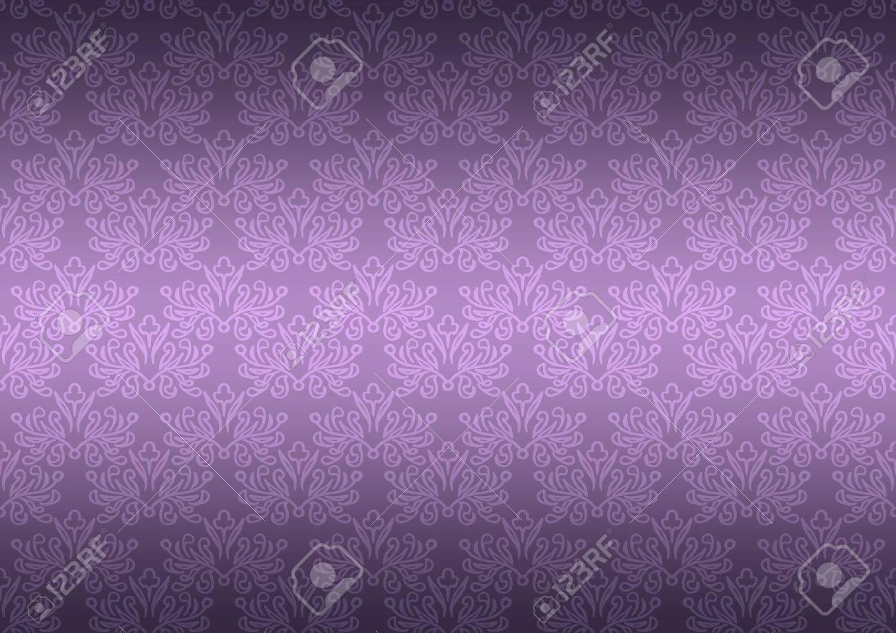 Seamless Pattern Wallpaper Floral Dark Purple Stock Photo
