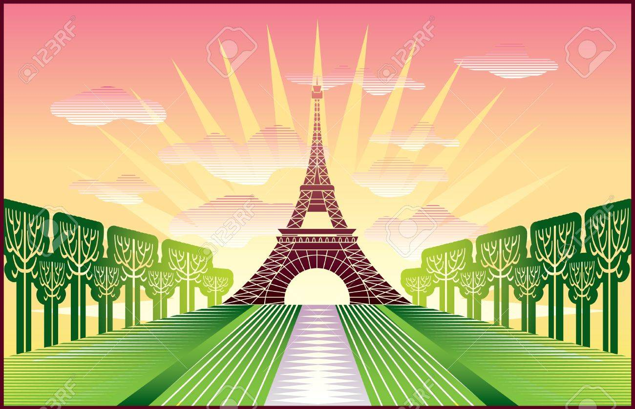 landscape with Paris Eiffel Tower illustration in original   style Stock Vector - 12834653