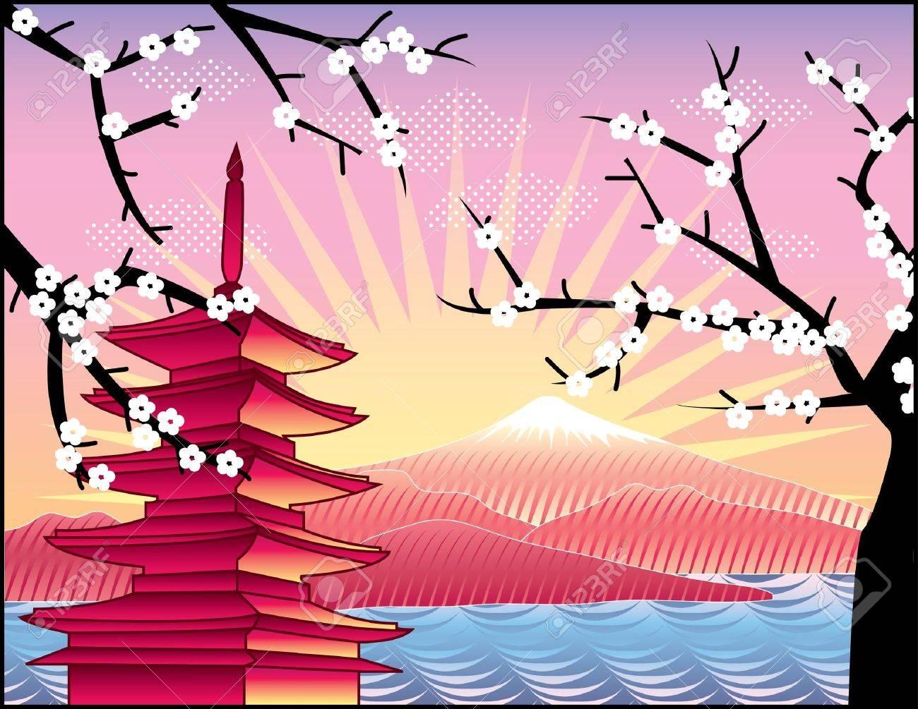 landscape with Fuji mount, sakura tree and Japan   pagoda illustration in original style Stock Vector - 12834677