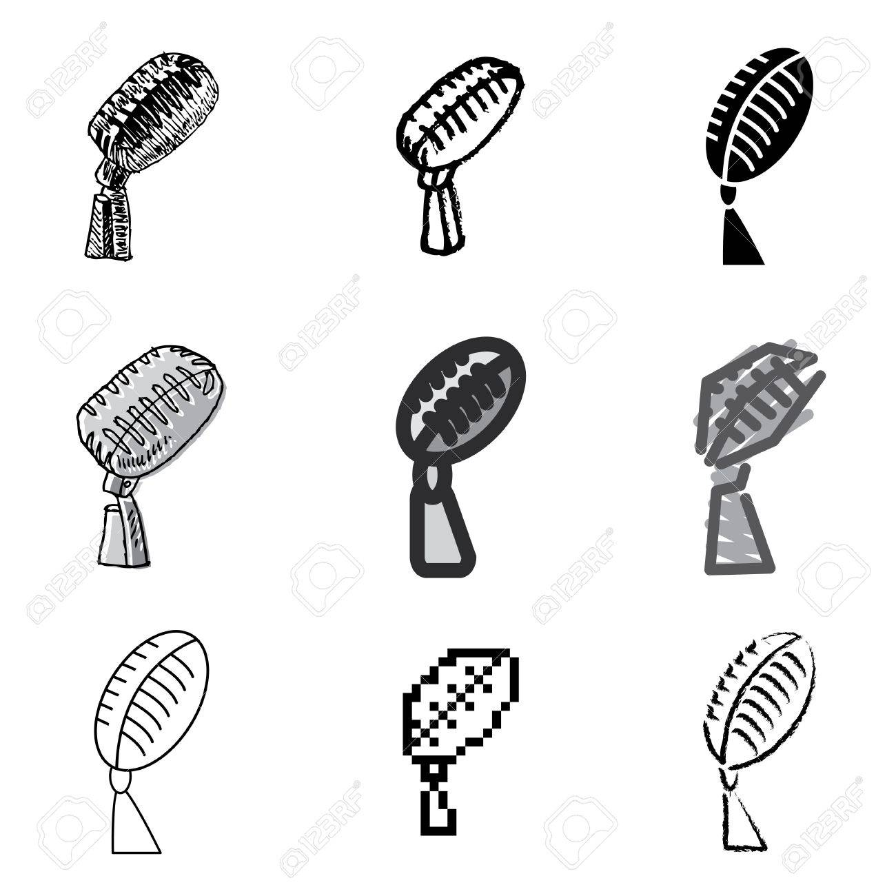 microphone icons vector set Stock Vector - 12834756
