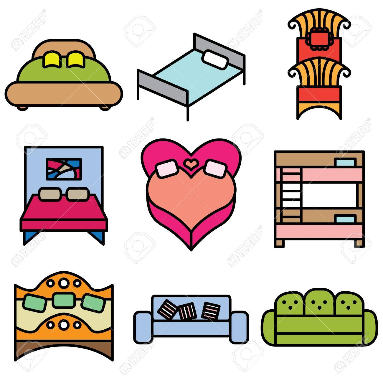 bed icons vector set Stock Vector - 13406460