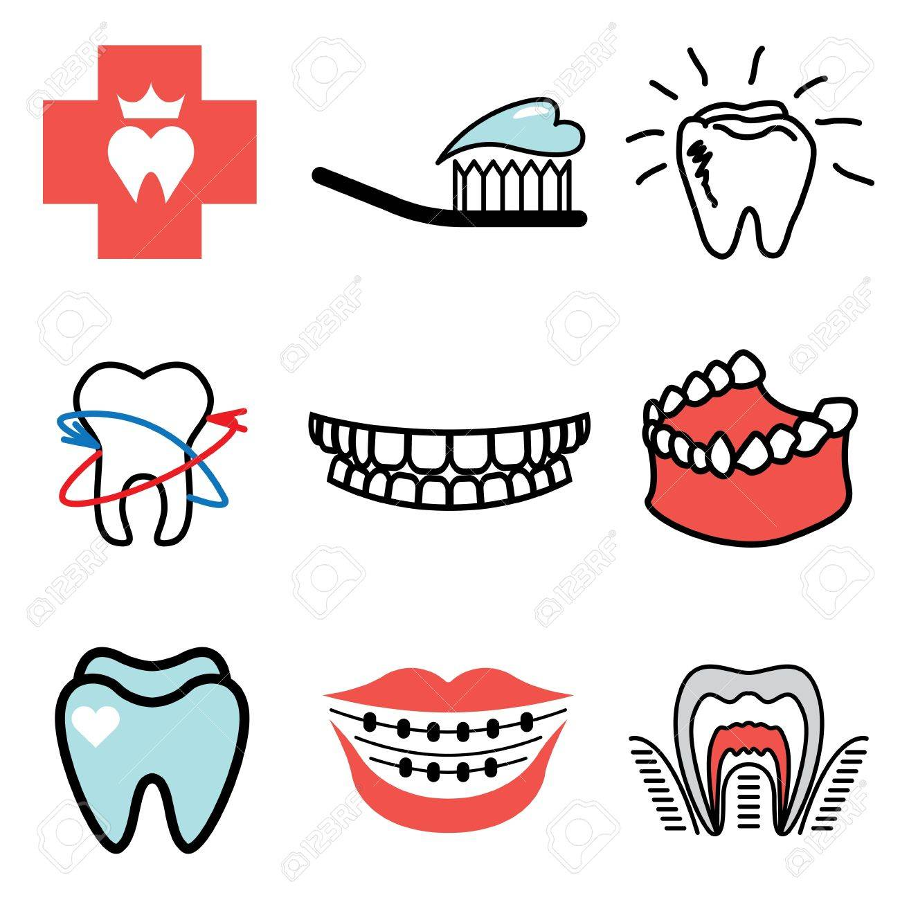 stomatology icons vector set Stock Vector - 13406469
