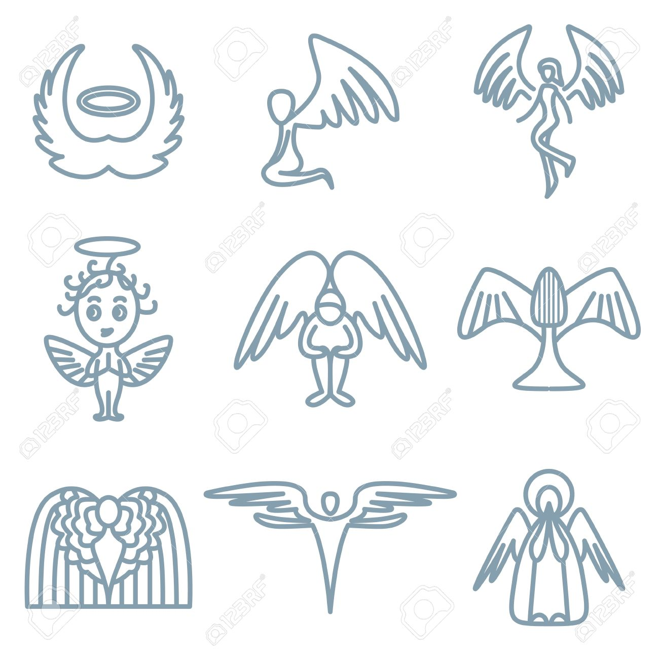 angel and charity icons vector set Stock Vector - 13406480