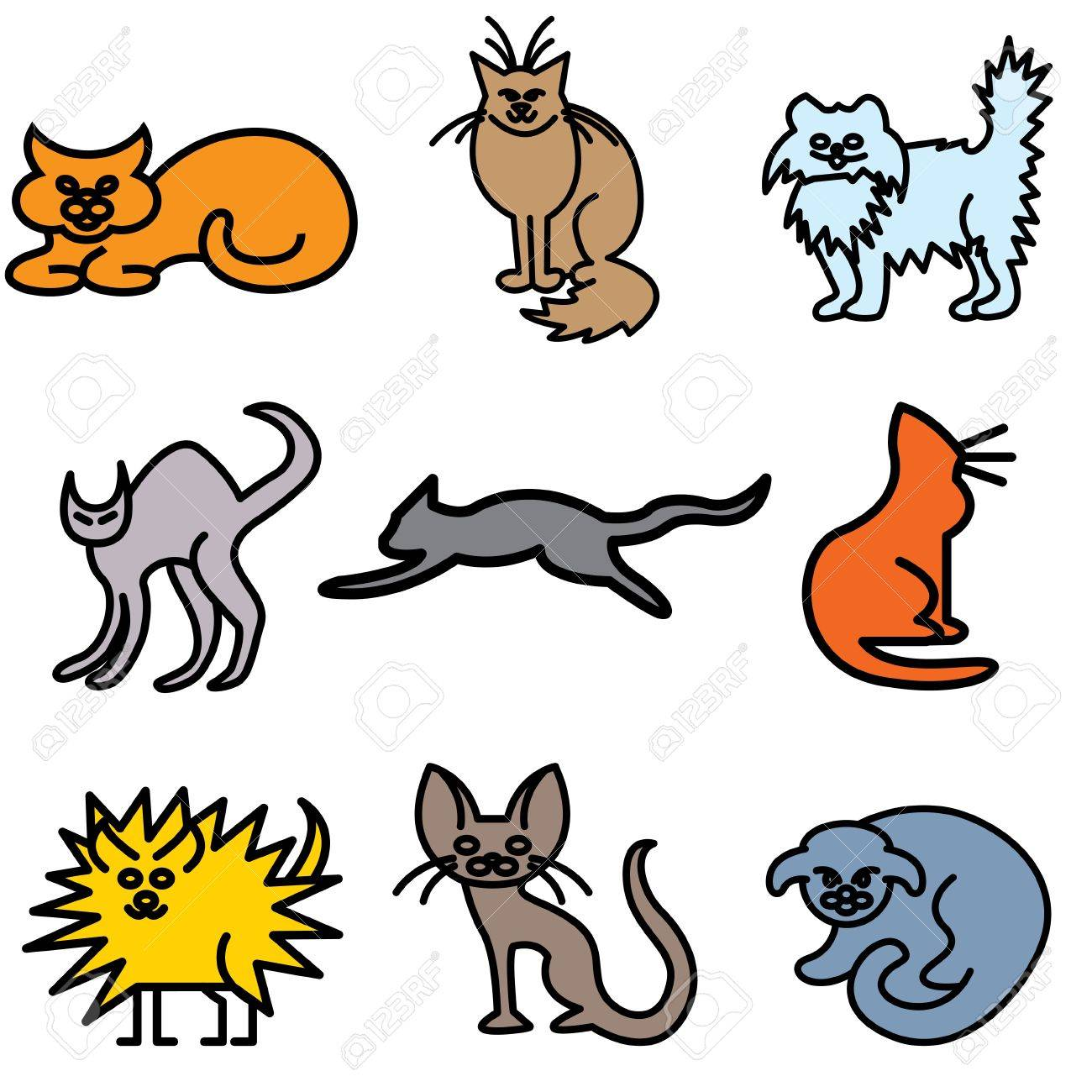 cat silhouette icons vector set Stock Vector - 13406475