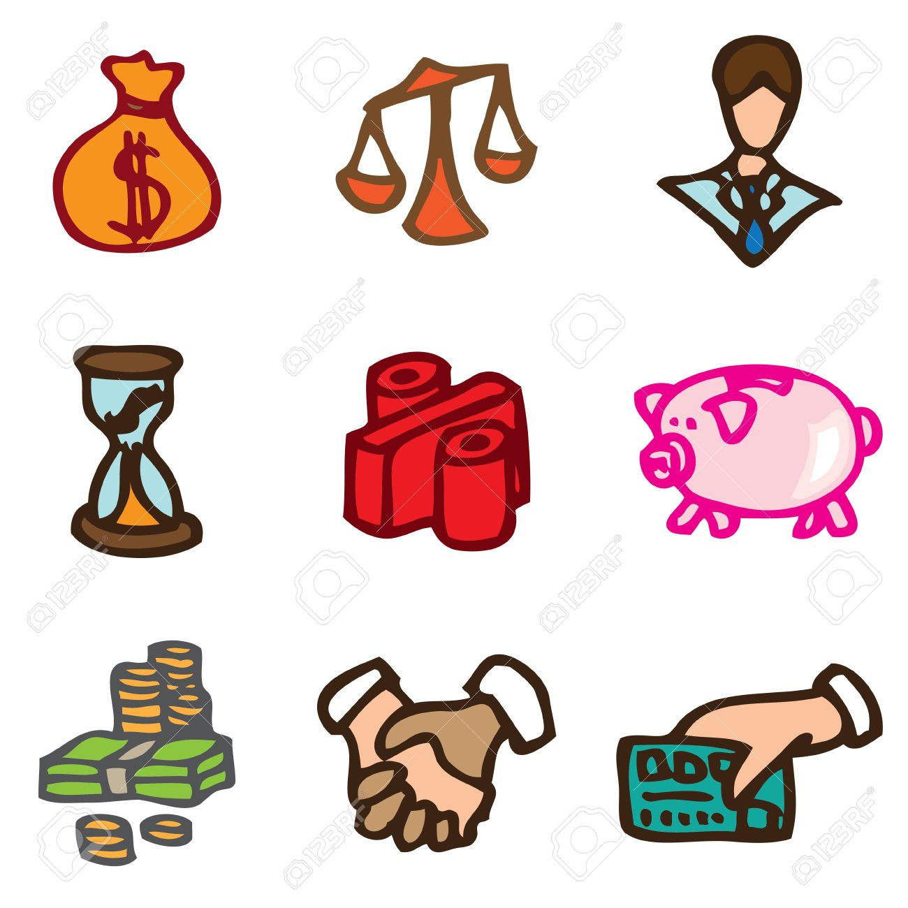 Economy and Finance hand drawn icons in vector Stock Vector - 16270809
