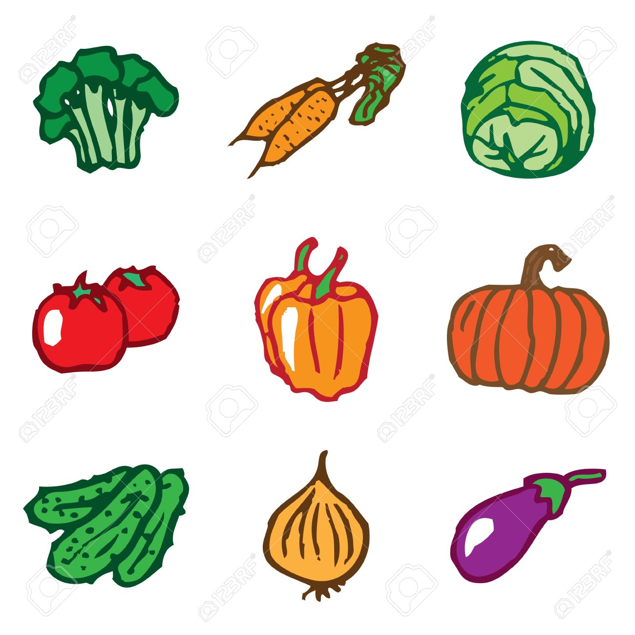 vegetables hand drawn icons in vector Stock Vector - 16270852