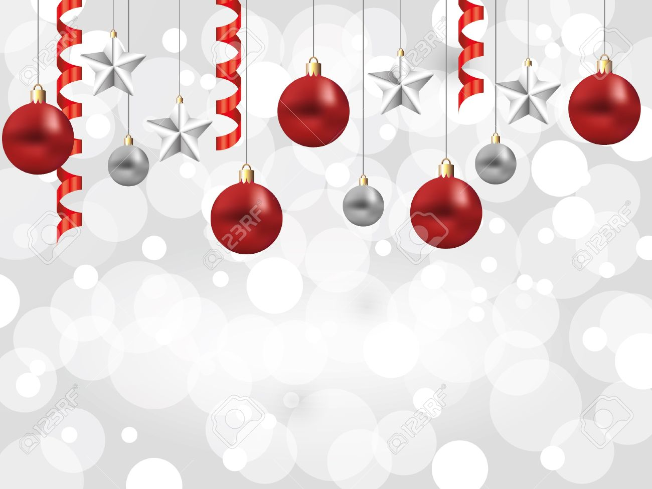 Shiny Snowflakes White Christmas Horizontal Background With Balls ...