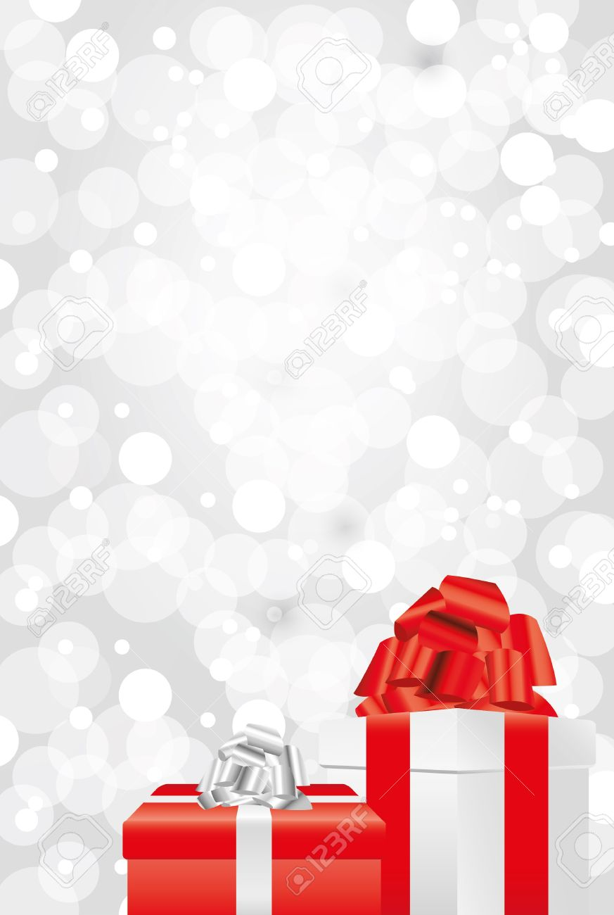 shiny snowflakes white christmas vertical background with gifts
