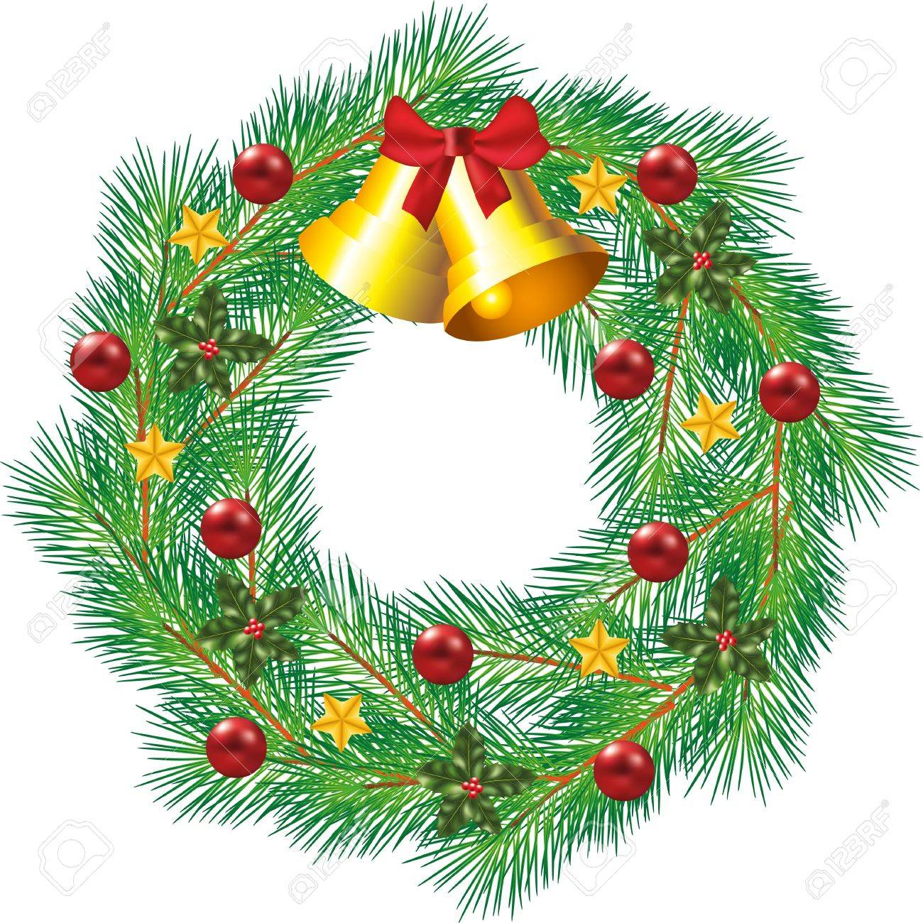 christmas decorated wreath with jingle bells and balls photo-realistic illustration Stock Vector - 16578243