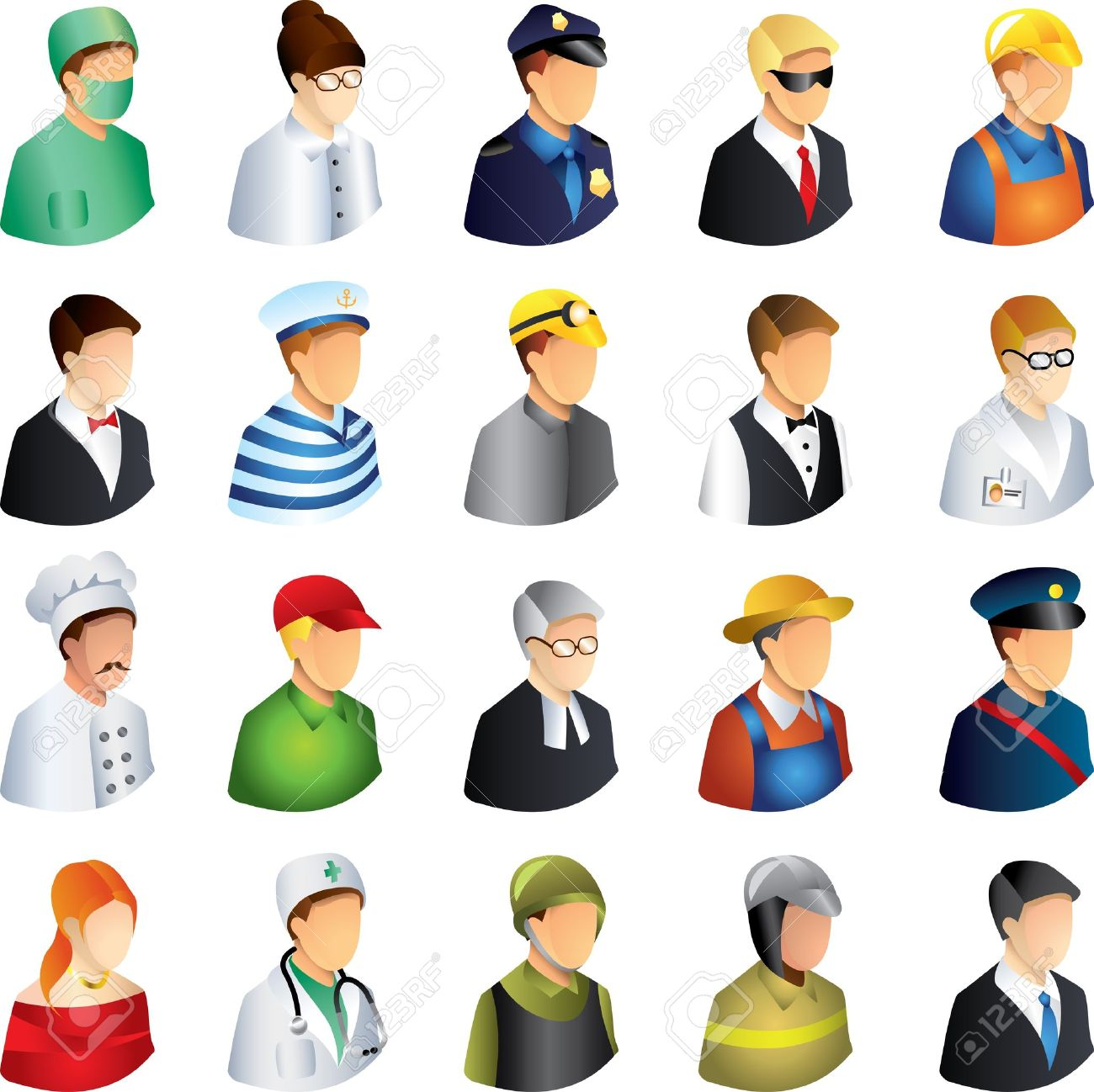 3329deb45b2bb People Occupations Icons Detailed Vector Set Royalty Free Cliparts ...