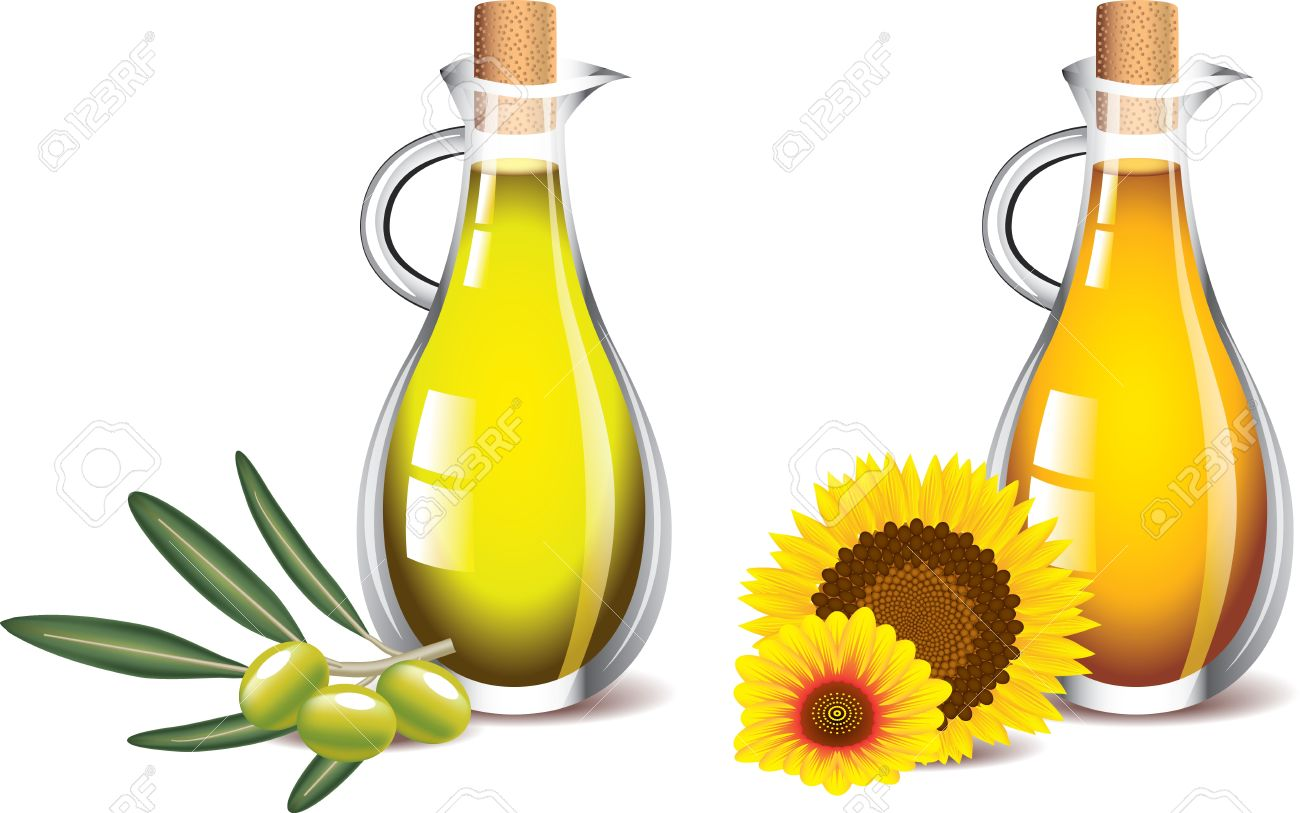 olive and sunflower oils isolated on white photo-realistic vector Stock Vector - 20364518