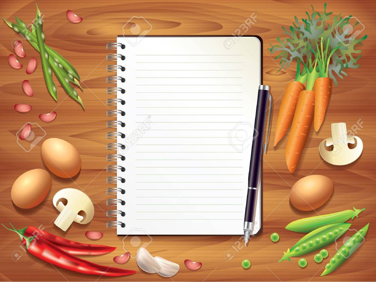 Top View Recipe Book On Wooden Kitchen Table, Food Ingredients Photo  Realistic Stock Vector