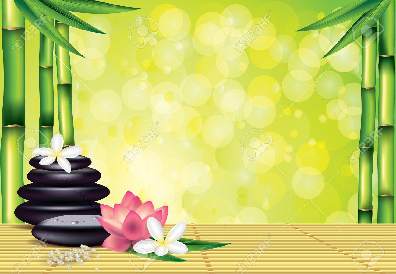 Wellness steine wallpaper  Wellness-Behandlung Mit Zen-Steine, Lotus, Frangipani Blüten, Auf ...