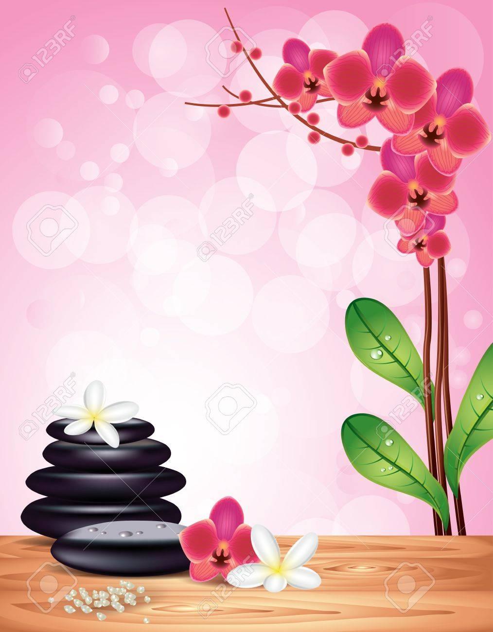 Banque dimages , Contexte de Spa avec pierres zen, fleurs dorchidée et de frangipanier sur fond rose