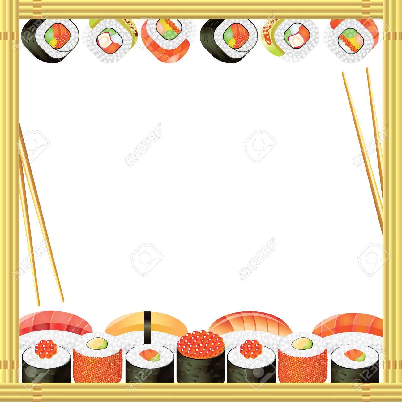 Sushi-Rahmen Mit Rollen, Bambus-Matte Und Essstäbchen Lizenzfrei ...
