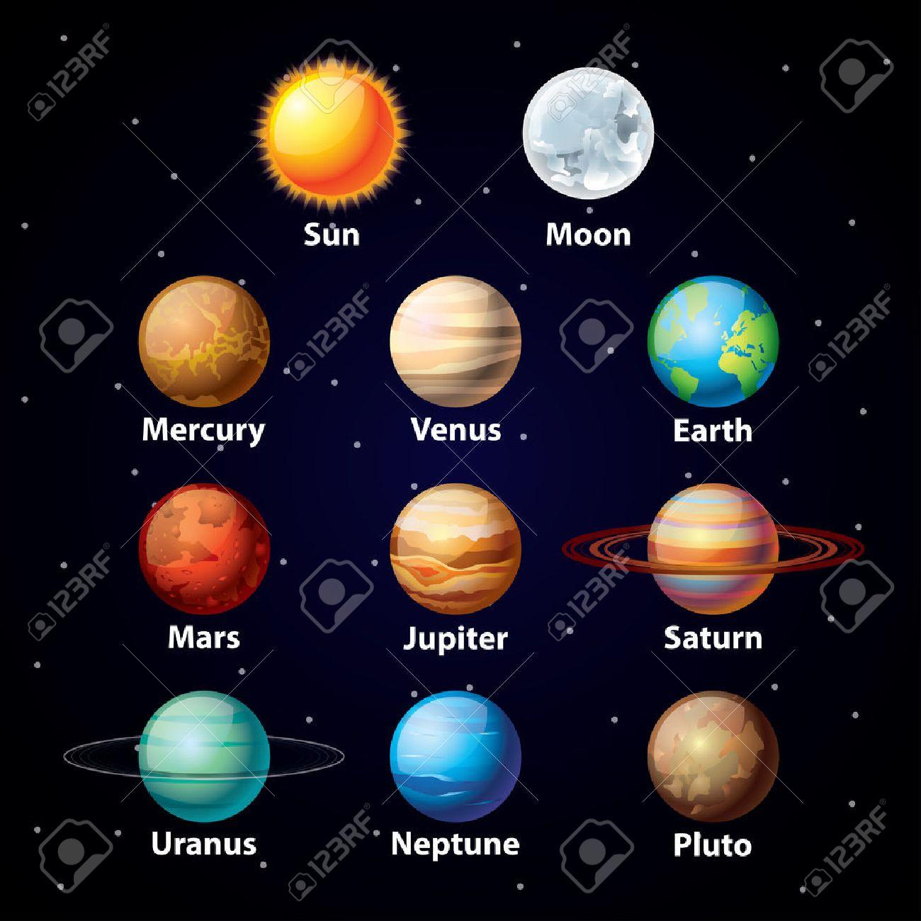 Planètes Brillant Vecteur Couleurs Sur Fond De Ciel Sombre Clip