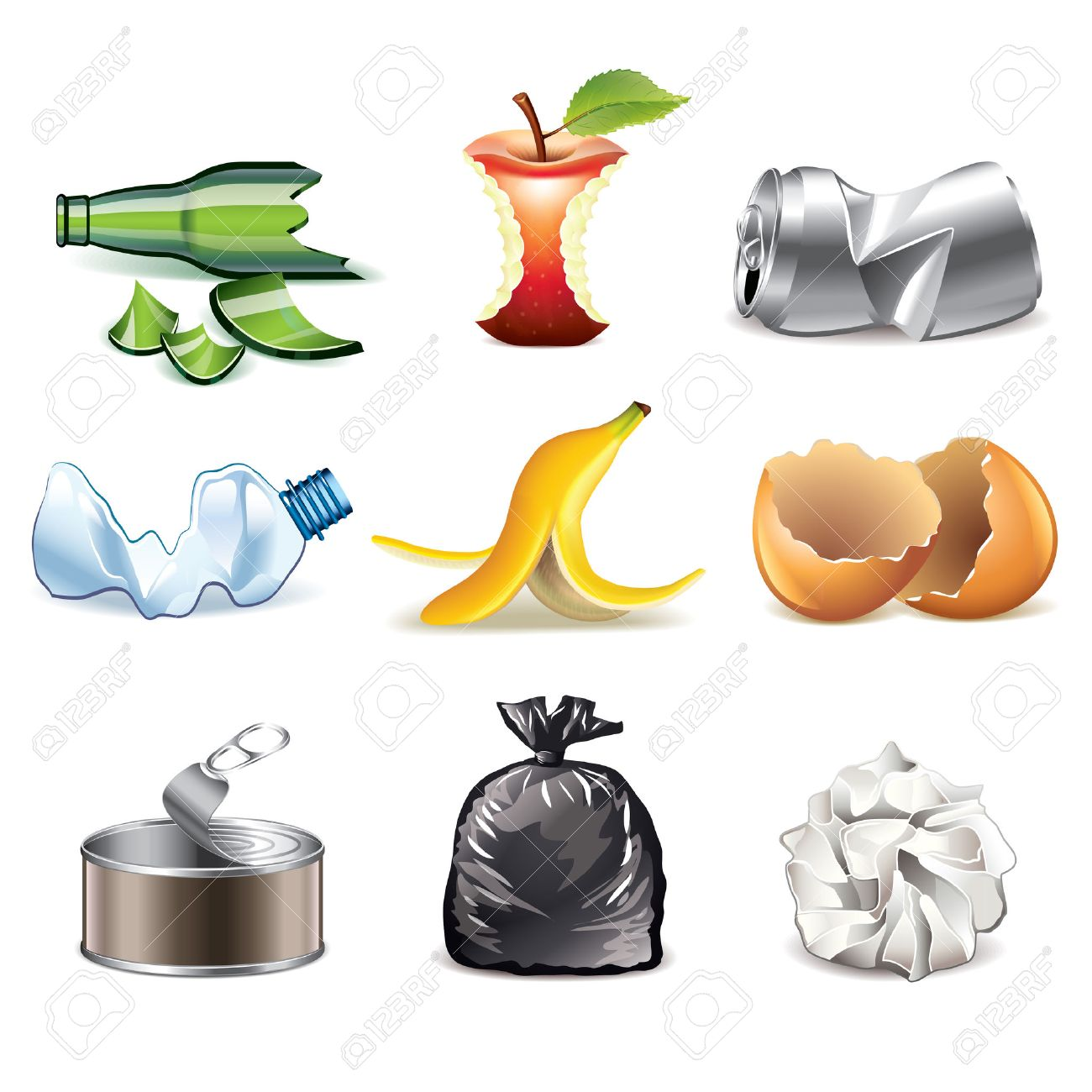 Garbage and waste icons detailed photo-realistic vector set - 28524251