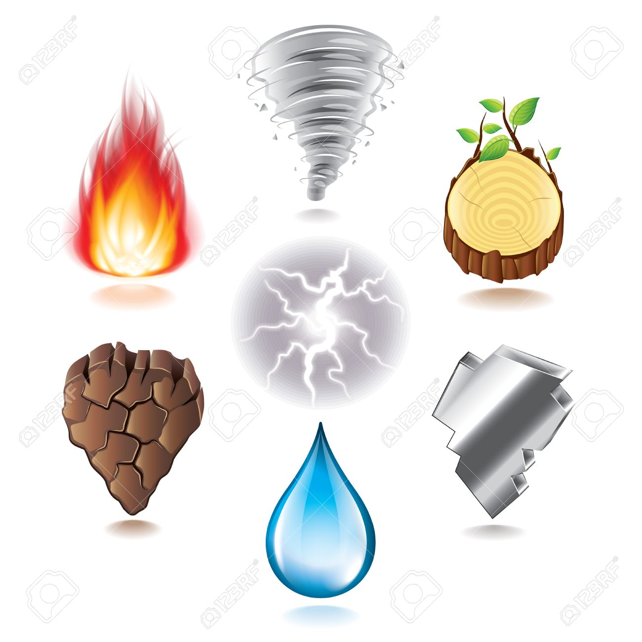 Seven Natural Elements Icons P O Realistic Vector Set Stock Vector 29265877