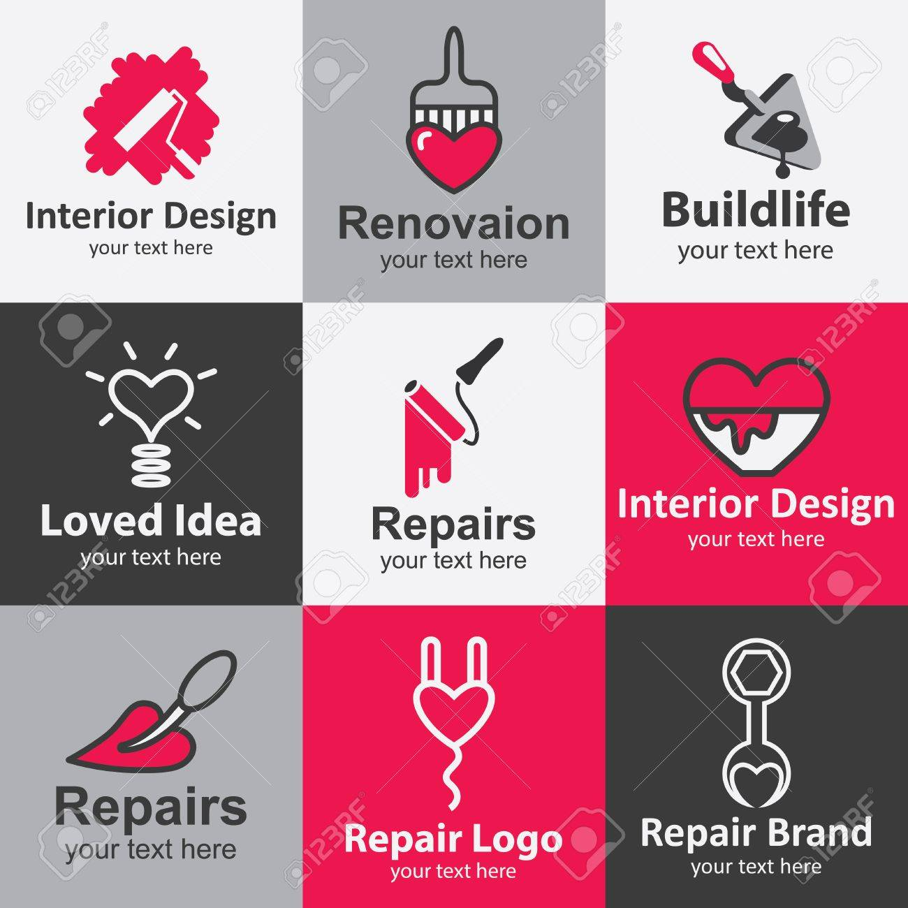 Home Repair Flat Icons Set Logo Ideas For Brand Royalty Free