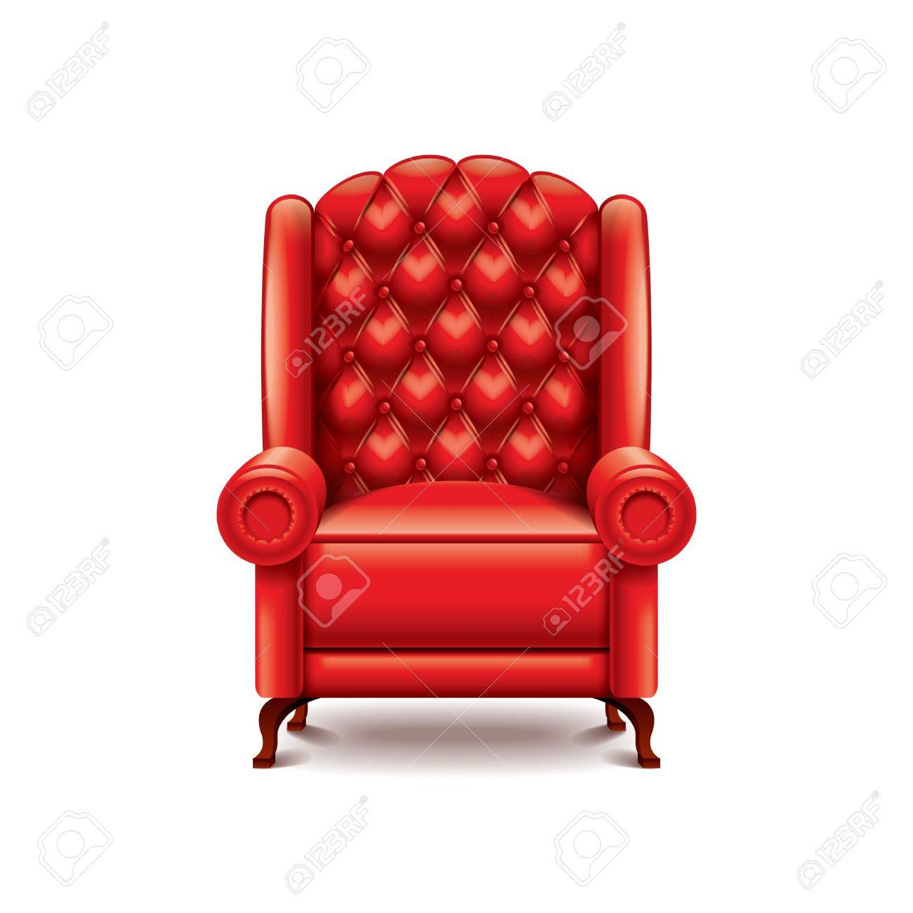 Red Armchair Isolated On White Photo Realistic Vector Illustration Stock  Vector   34262946