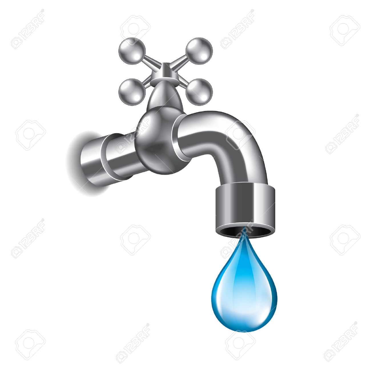 Charmant Water Faucet Isolated On White Photo Realistic Vector Illustration Stock  Vector   36278600