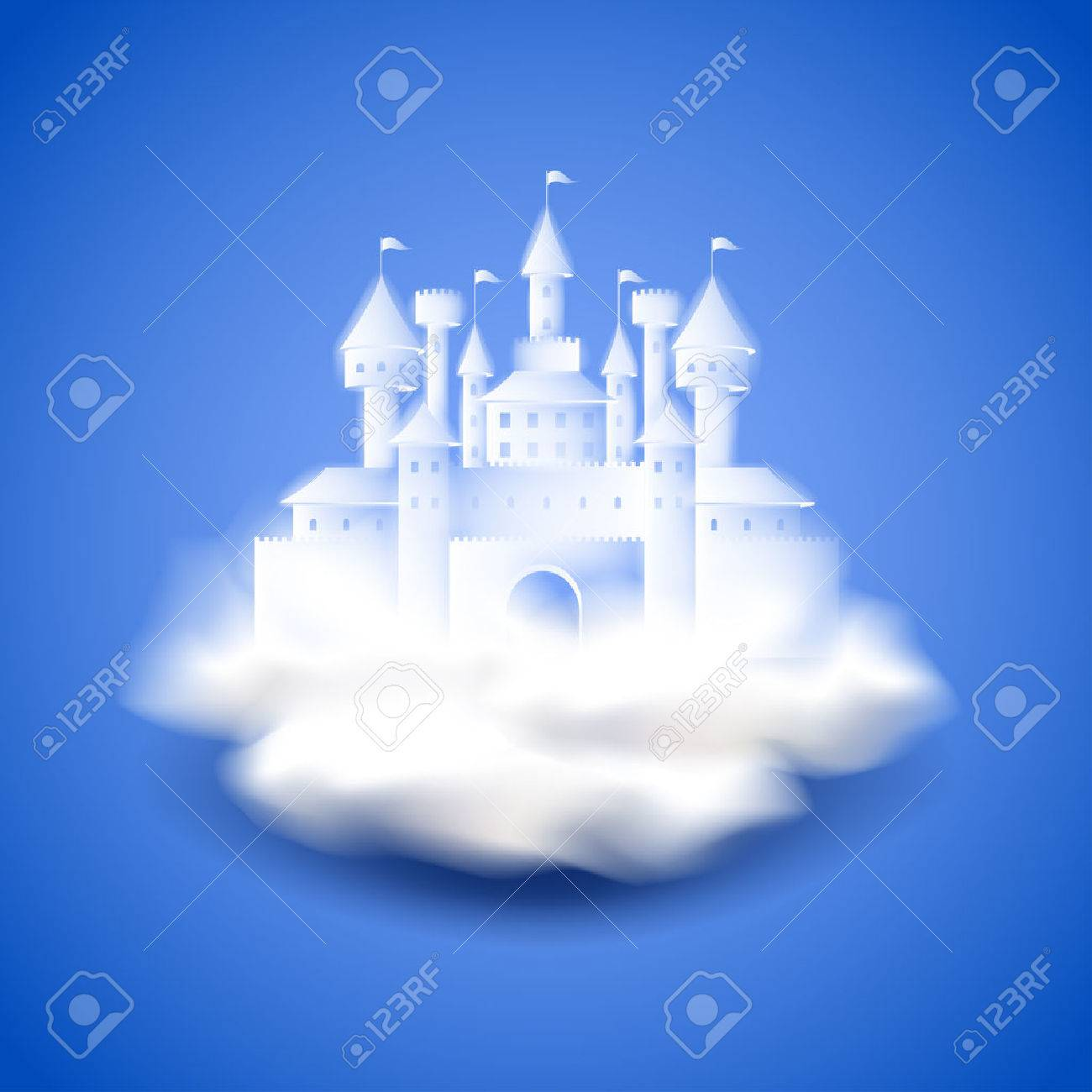 Air castle on blue photo realistic vector background - 39879972
