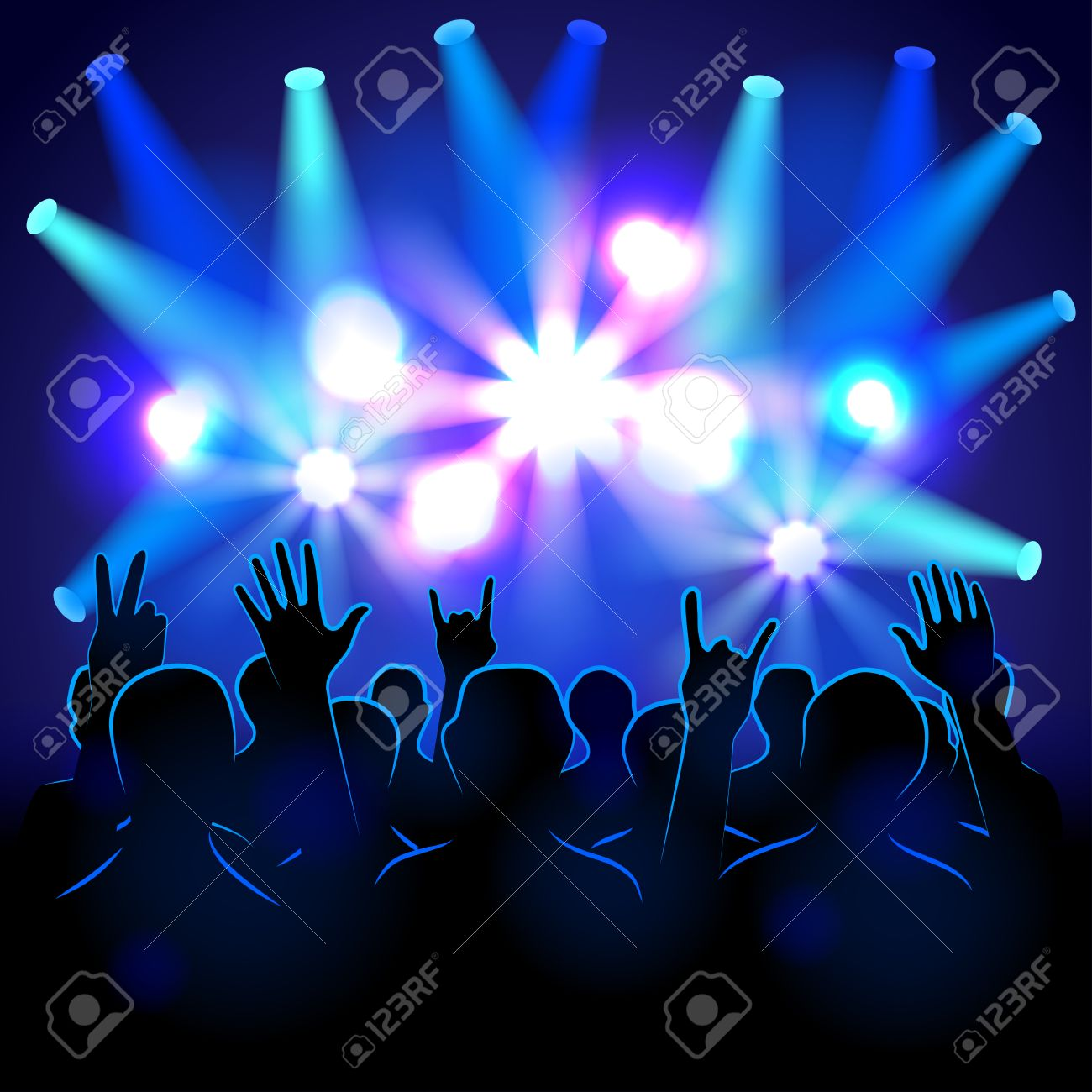 Pics photos rock concert background - Silhouettes And Lights On Musical Concert Vector Background Stock Vector 41602816