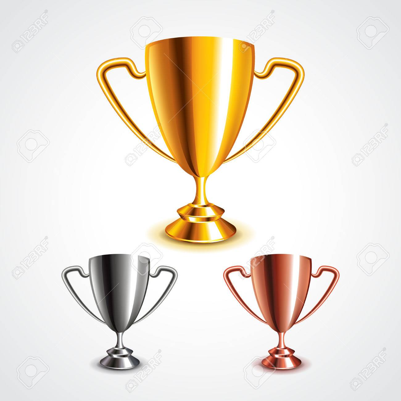 Golden, silver and bronze trophy cups photo realistic vector set - 43131004