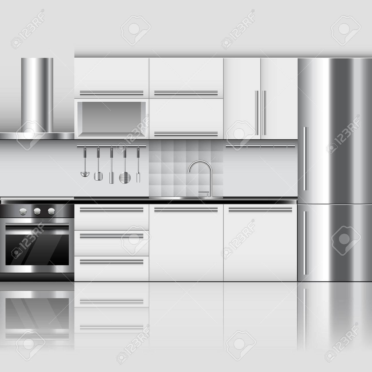 Modern Kitchen Interior Photo Realistic Vector Background Royalty