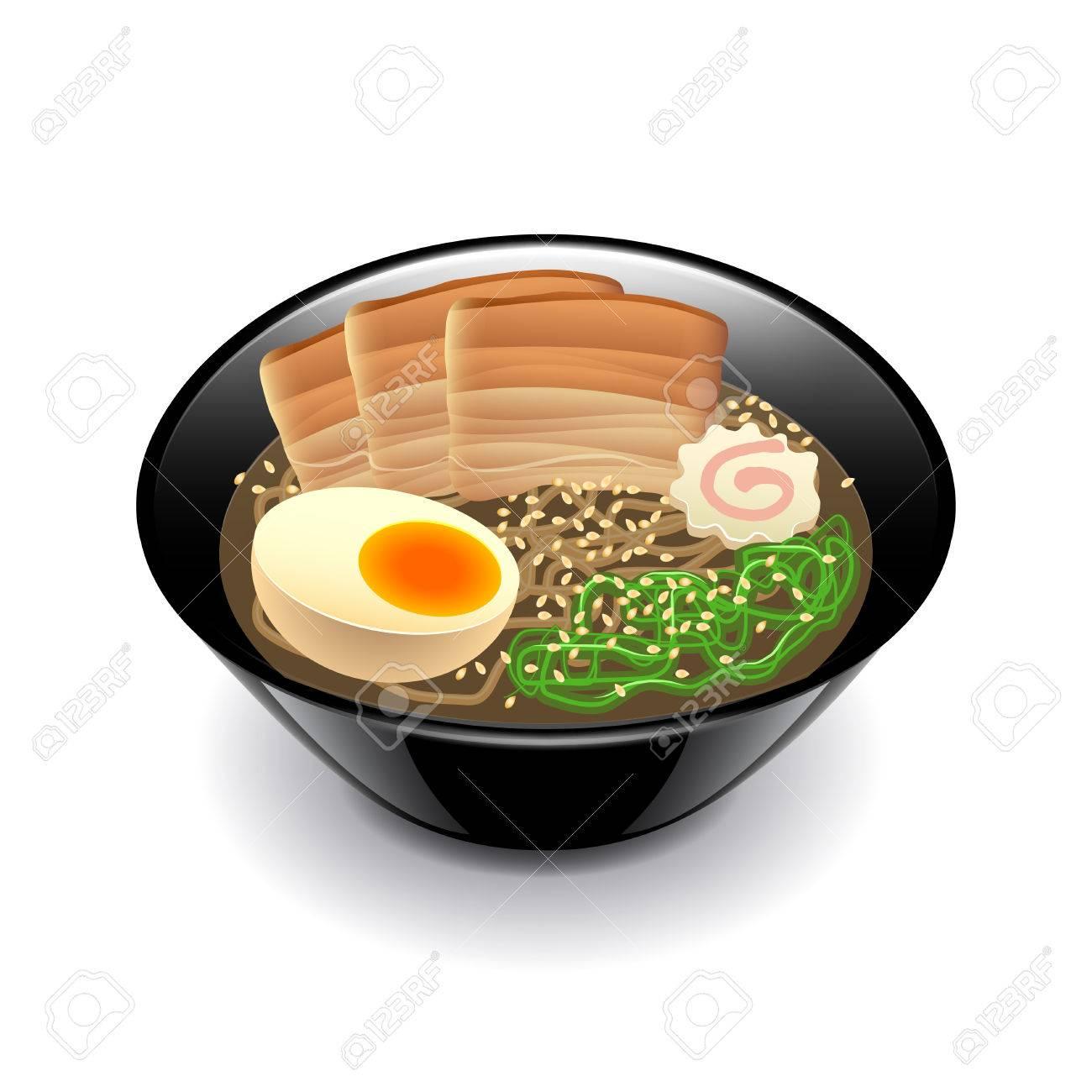 白の写実的なベクトル イラストを分離したラーメン スープのイラスト素材