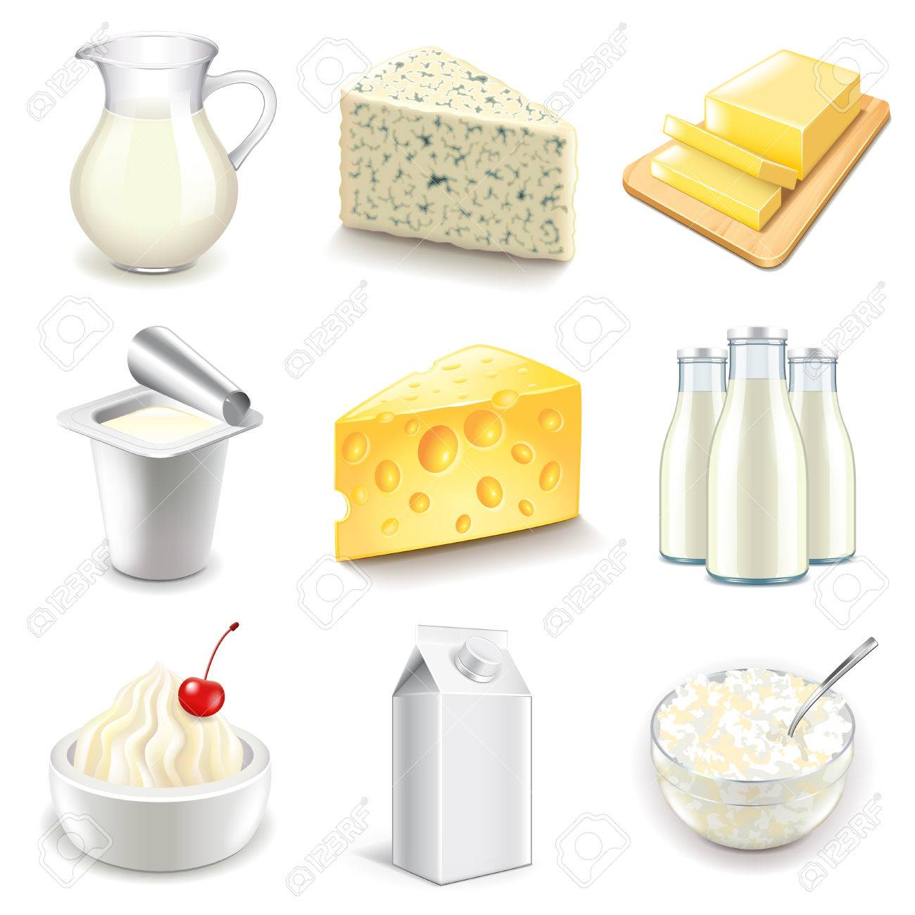Dairy products icons detailed photo realistic vector set - 51987860