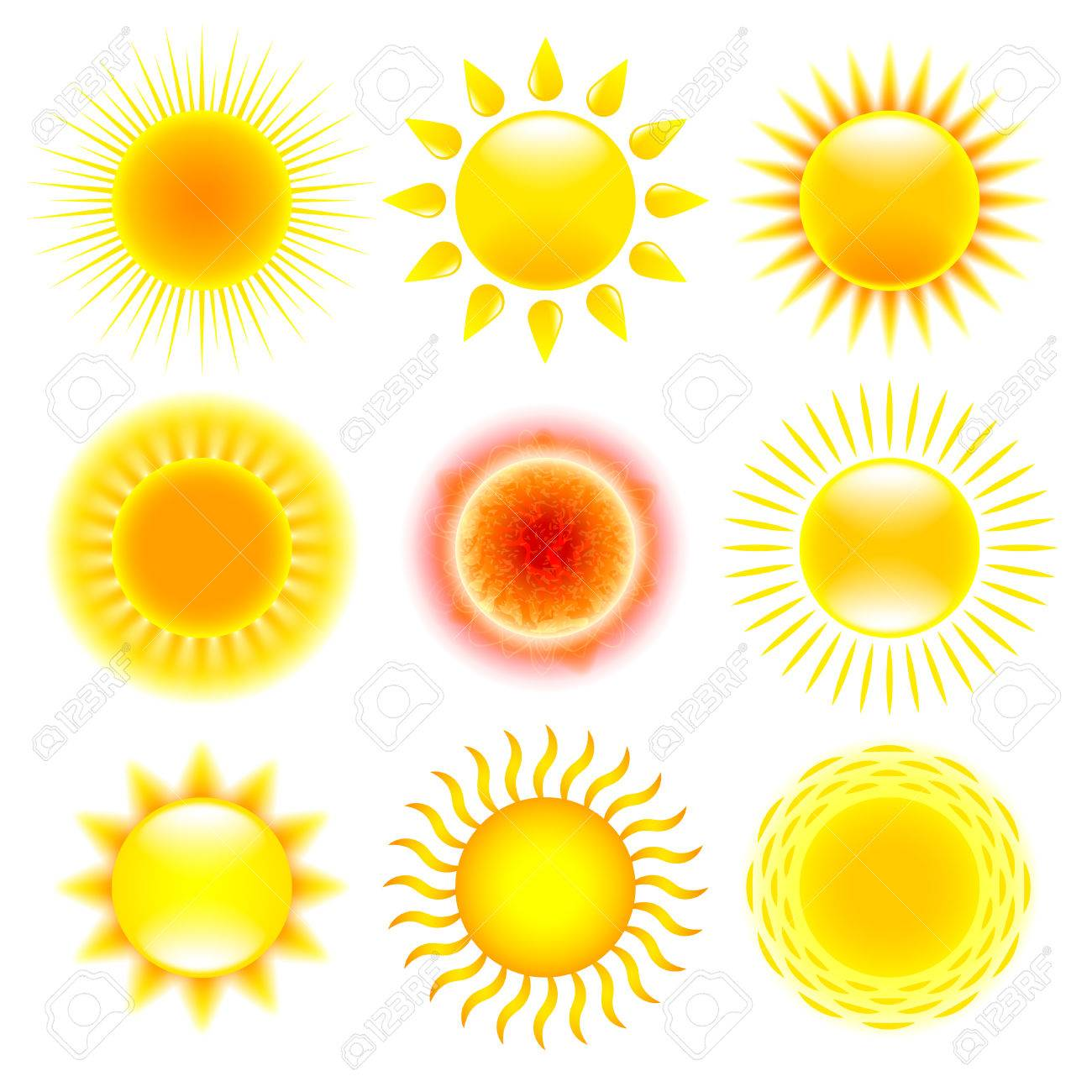 Sun icons detailed photo realistic vector set - 51987865