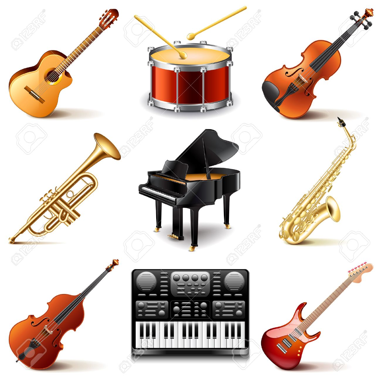 Musical instruments icons photo realistic vector set - 51987884