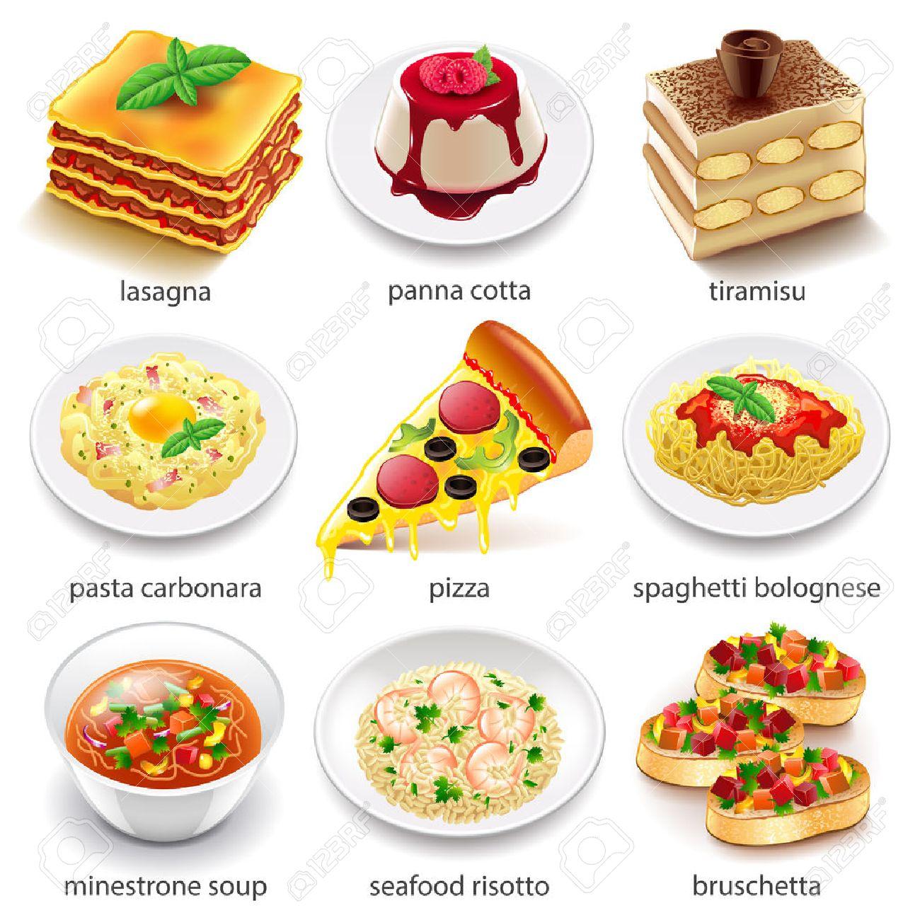 Icones De La Cuisine Italienne Photo Detaillee Vecteur Realiste