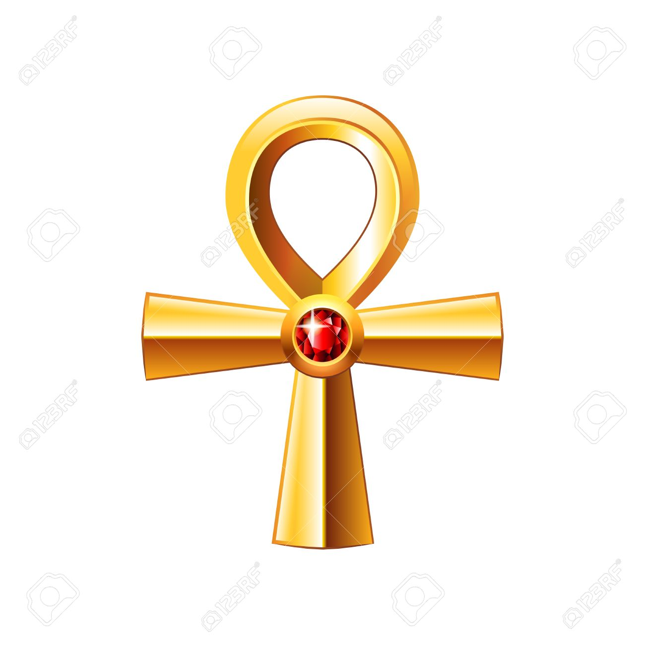 Egyptian Cross Ankh Isolated On White Photo Realistic Vector