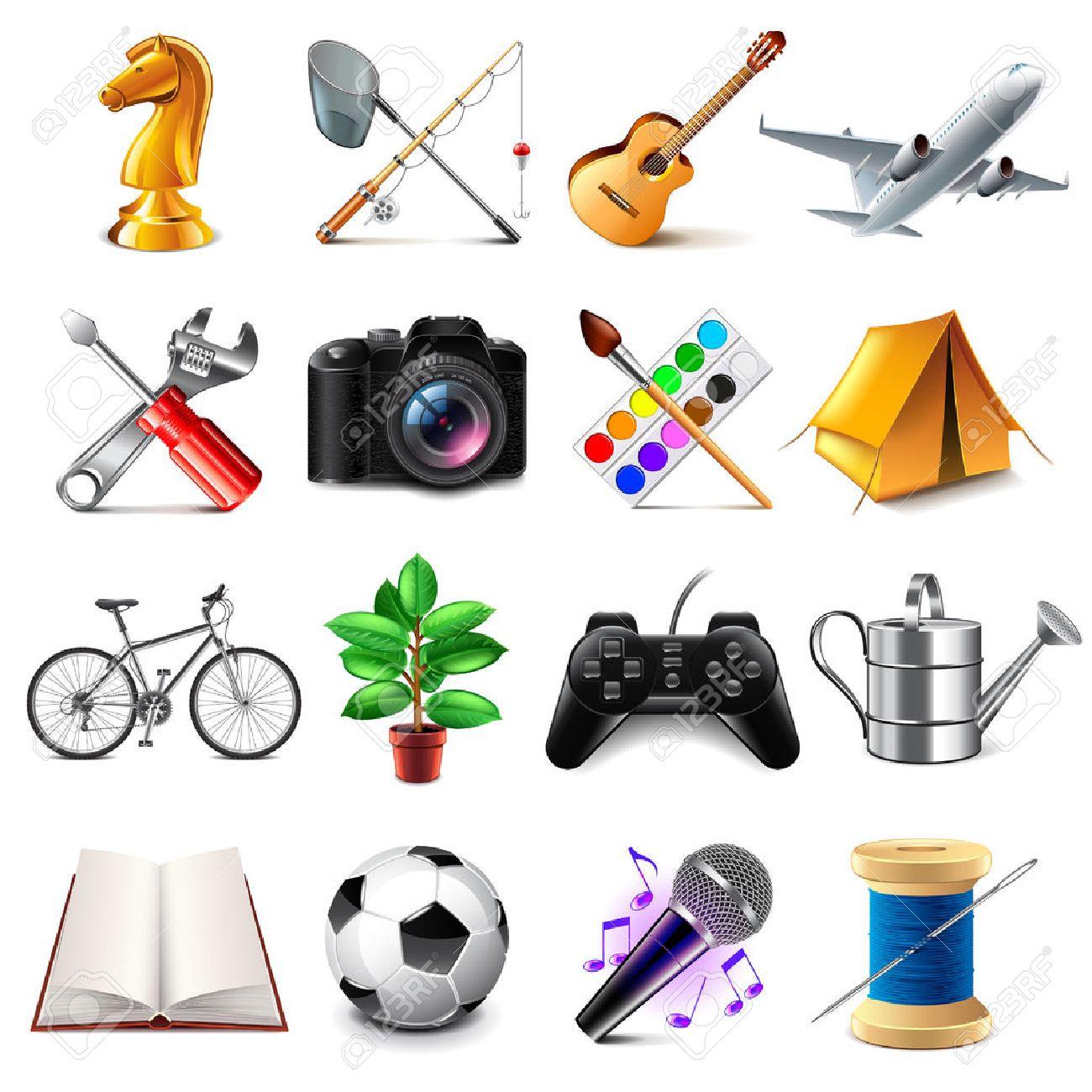 Hobby icons detailed photo realistic set - 56713895