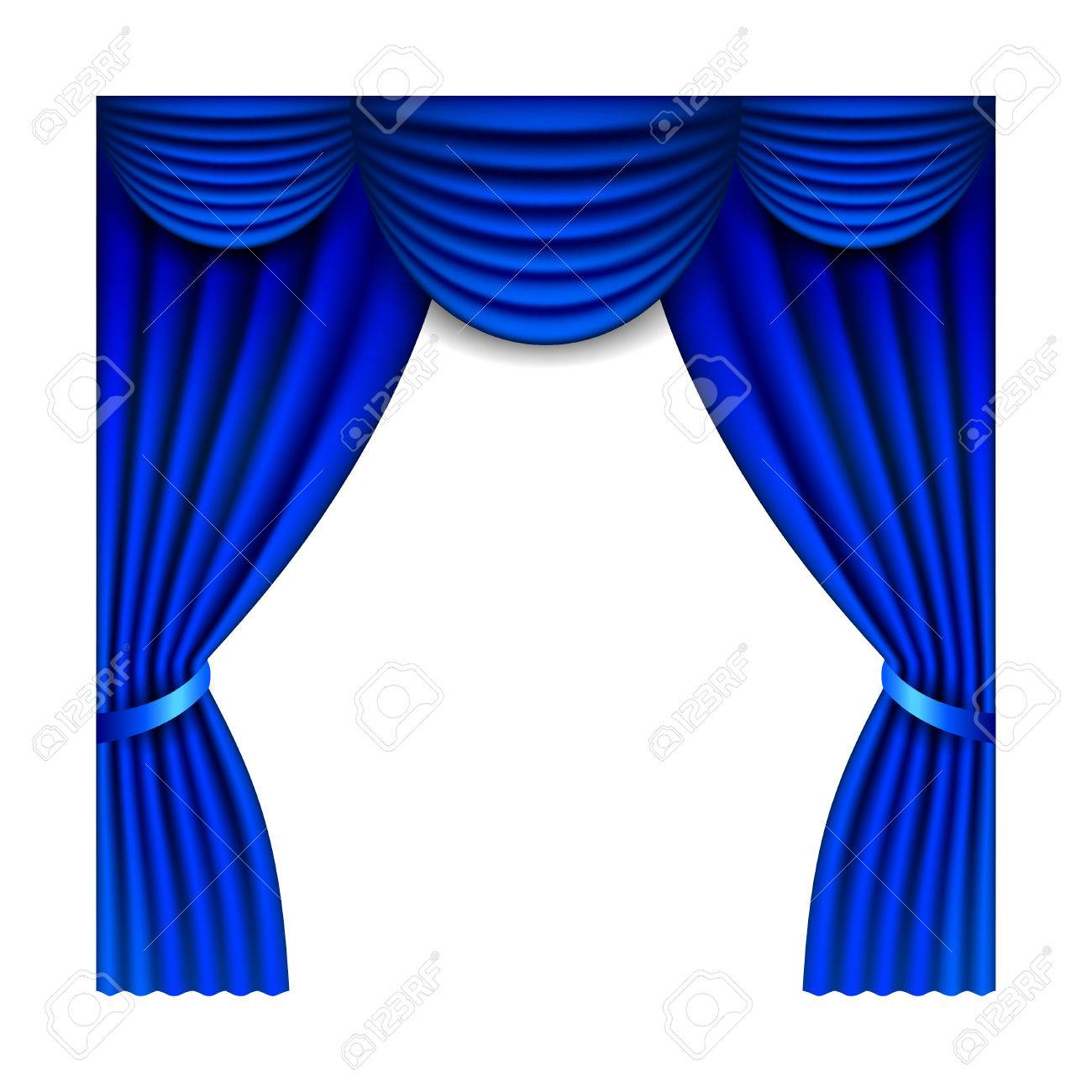Blue Window Curtains Isolated On White Photo-realistic Vector ... for Window With Curtains Illustration  lp5fsj