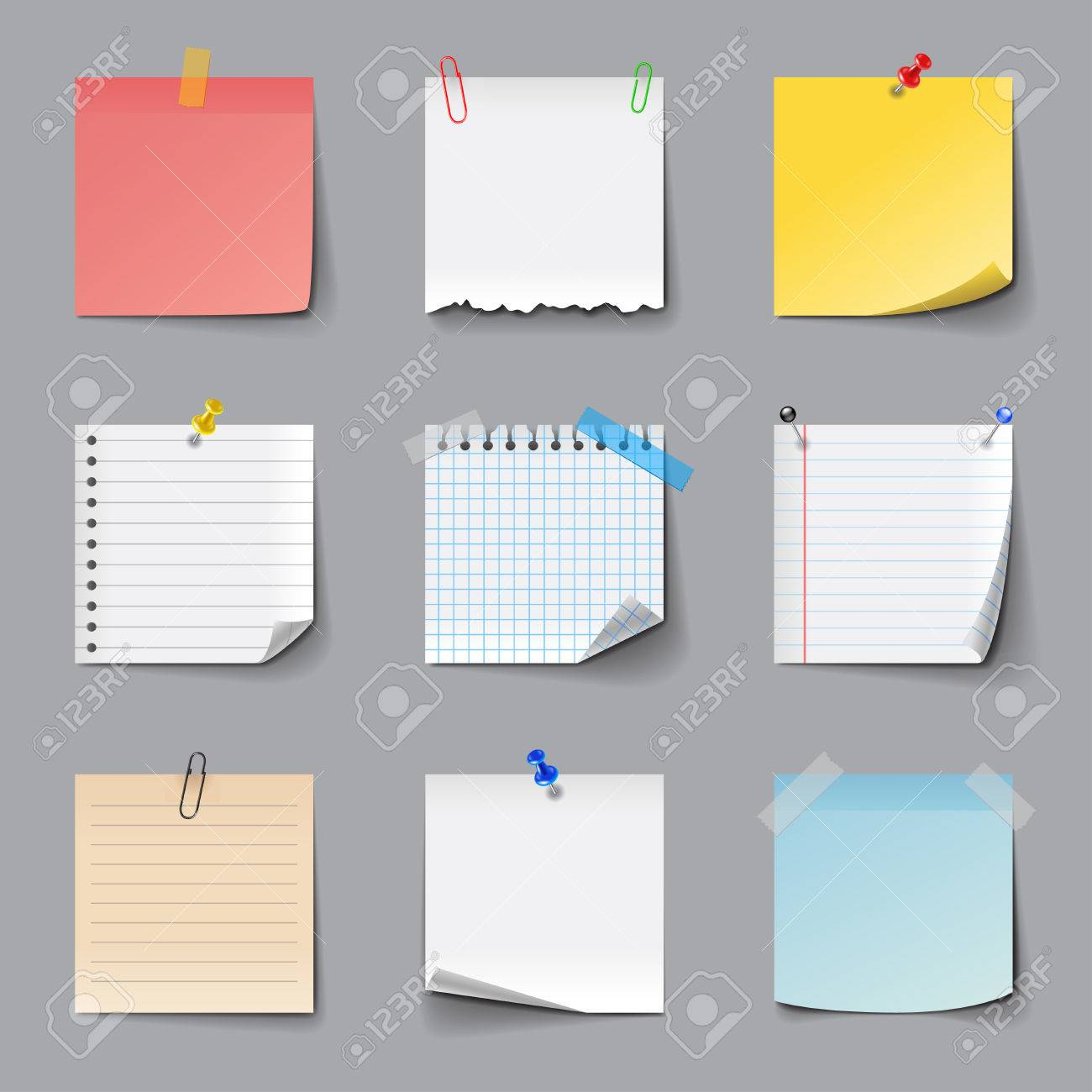 Post it notes icons detailed photo realistic vector set - 58506745