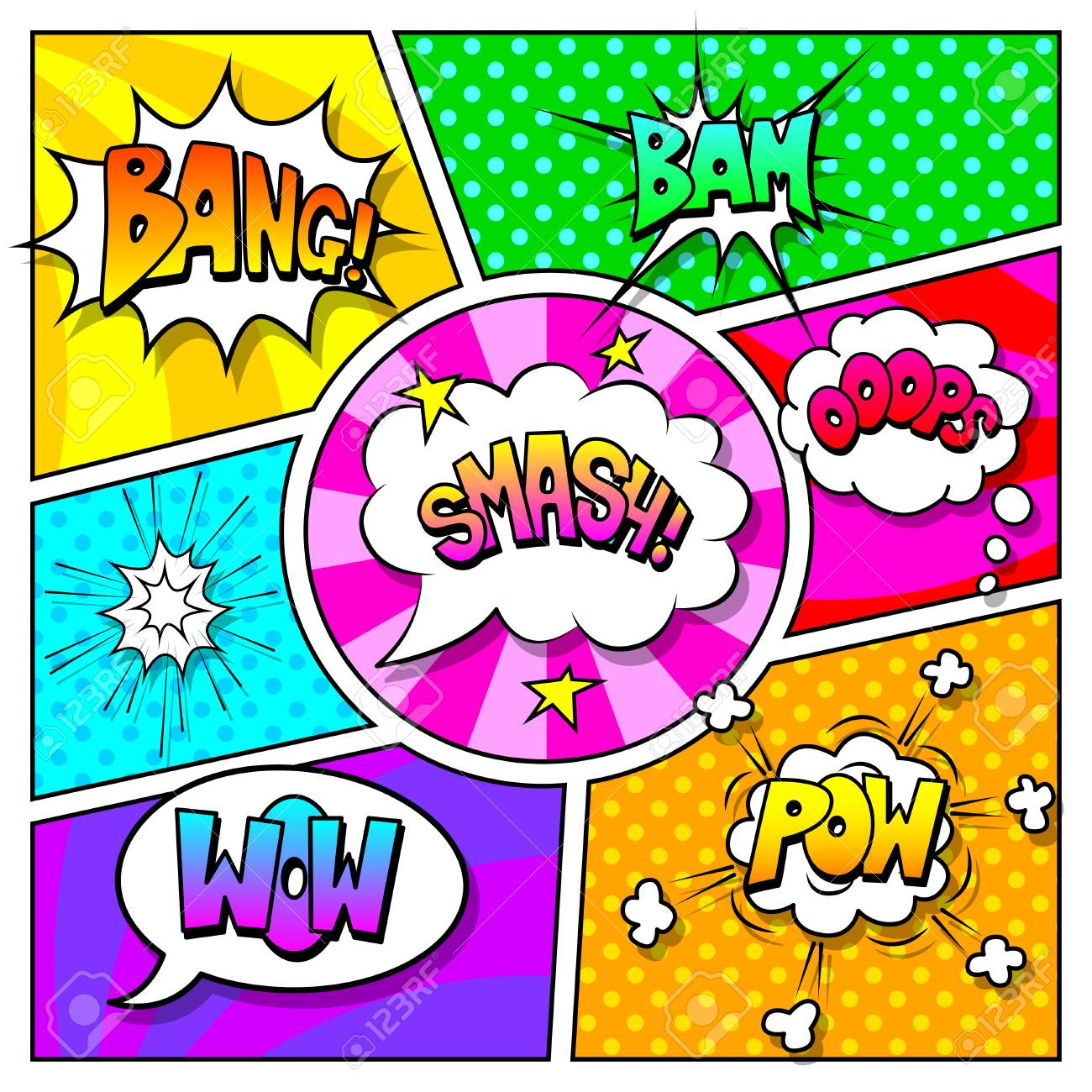 speech bubbles and sound effects on comic book page vector