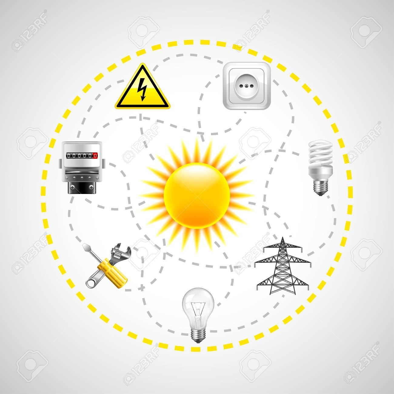 Sun and electricity tools connected with dotted lines vector sun and electricity tools connected with dotted lines vector background stock vector 61161357 geenschuldenfo Gallery