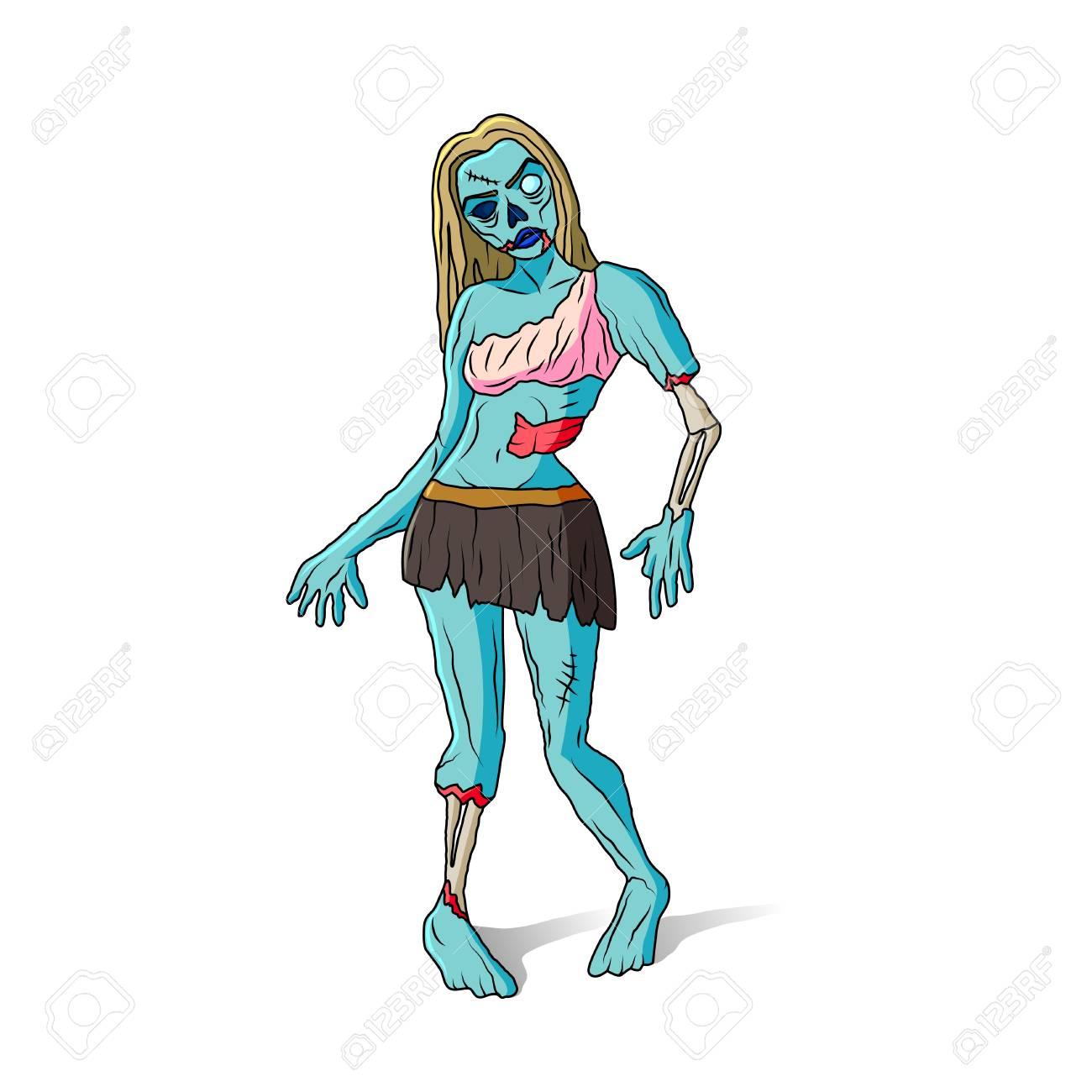 Vecteur Isolé De Zombie Fille Dessin Animé Coloré Illustration