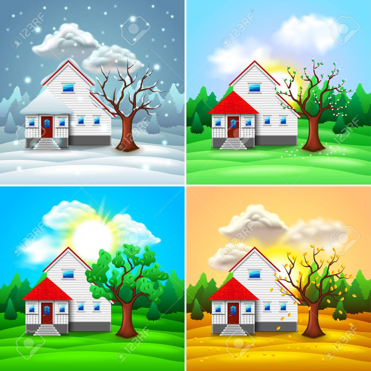 House and nature four seasons photo-realistic vector illustration - 77216817