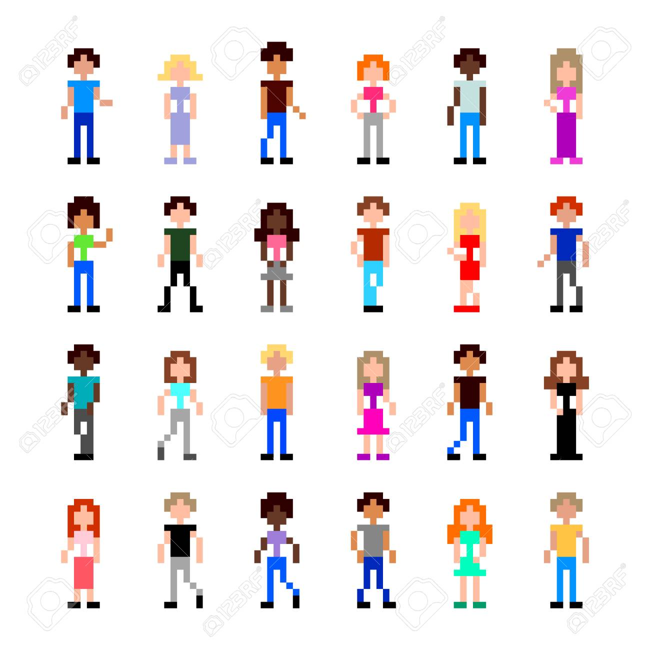 Pixel Art People For Game Set Detailed Illustration Isolated Royalty Free Cliparts Vectors And Stock Illustration Image 127520258