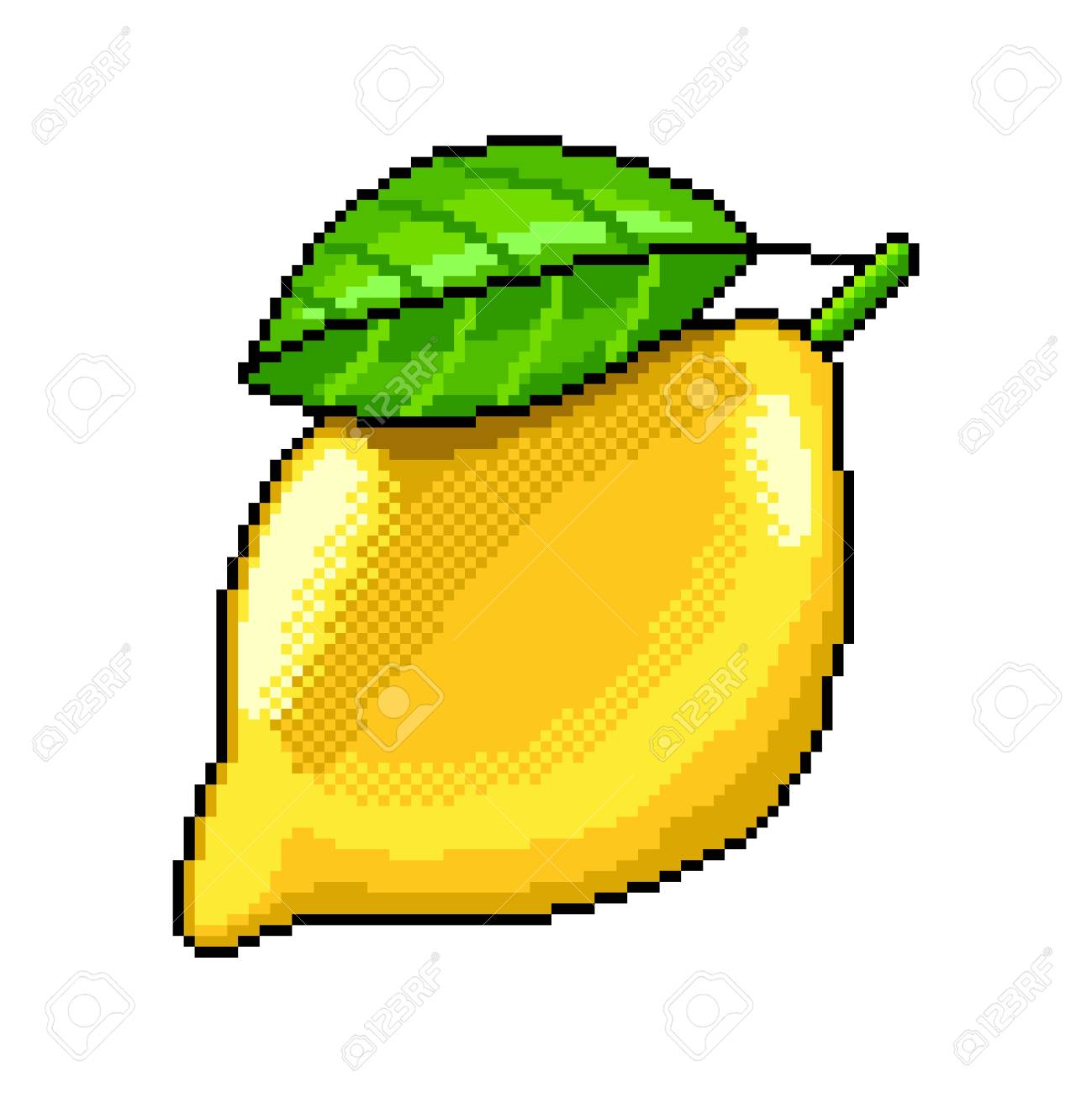 Pixel Art Lemon Fruit Detailed Illustration Isolated Vector