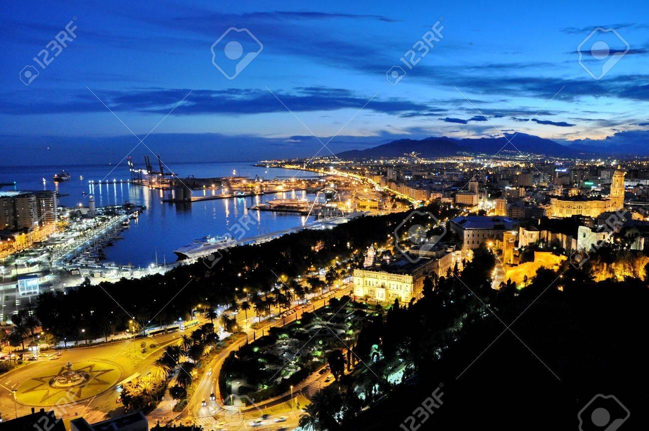 City of Malga, Spain by night - 17817762