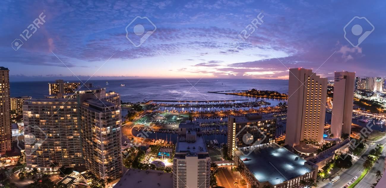 Panorama Of The Waikiki Night Sky At Sunset Including The Ala Wai Small  Boat Harbor, Magic Island, Prince Hotel Waikiki, Modern Honolulu, Ilikai  Hotel, ...